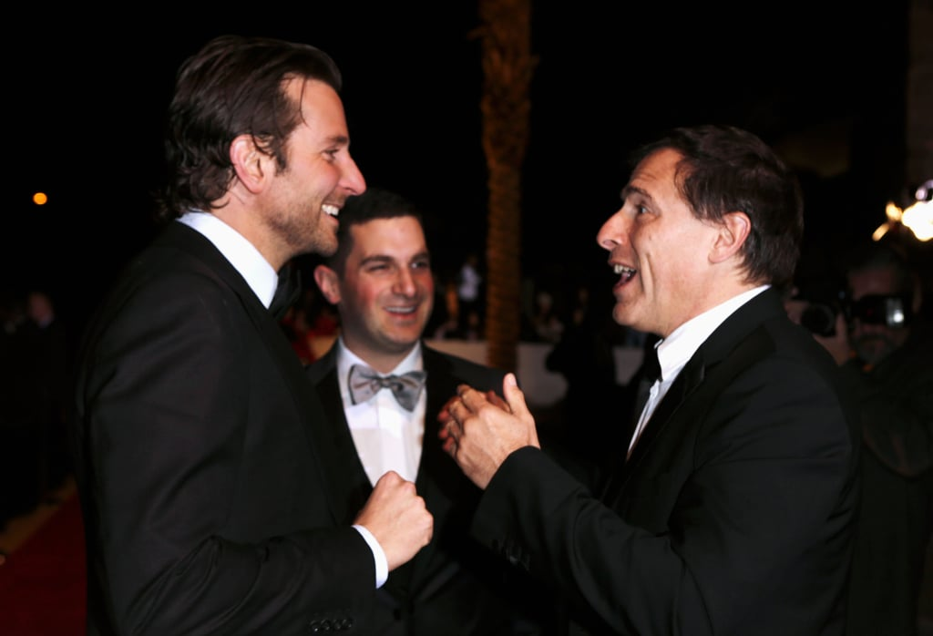 David O. Russell and Bradley Cooper chatted on the red carpet.
