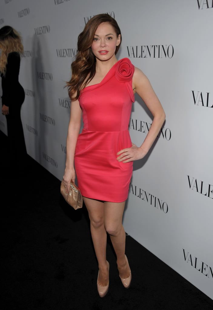 Rose McGowan wore a pink one-shoulder dress for Valentino s 50th anniversary  in LA. 321ae91f6