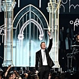 Macklemore hit the stage during the Grammys.
