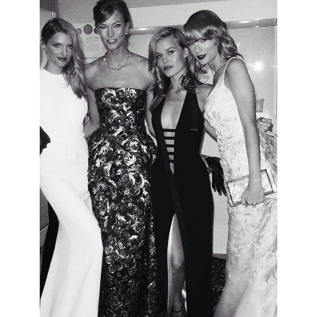 Lily Donaldson, Karlie Kloss, Georgia May Jagger, and Taylor Swift left together. Source: Instagram user mariotestino