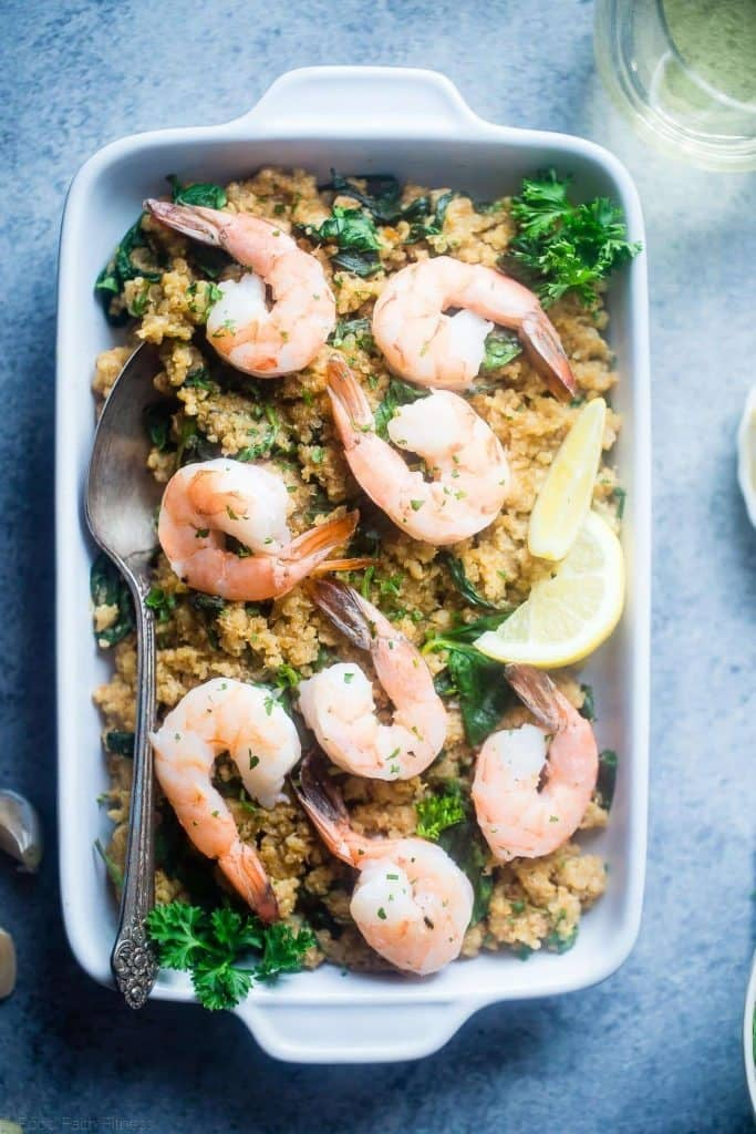 Slow Cooker Garlic Butter Shrimp and Quinoa