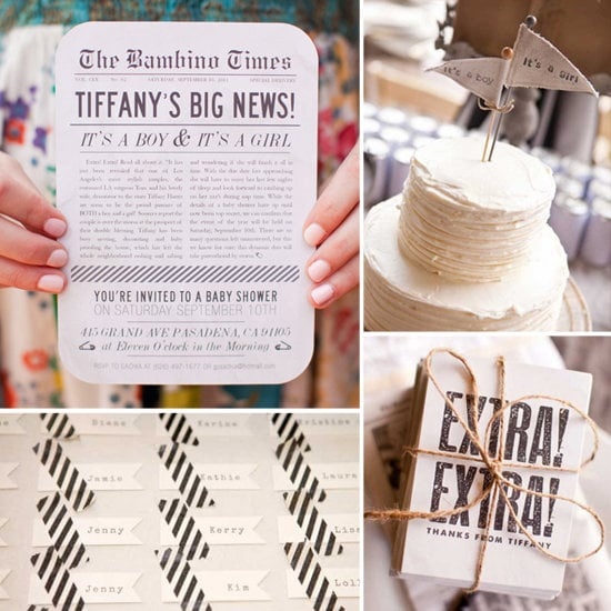 Vintage Newsprint Baby Shower