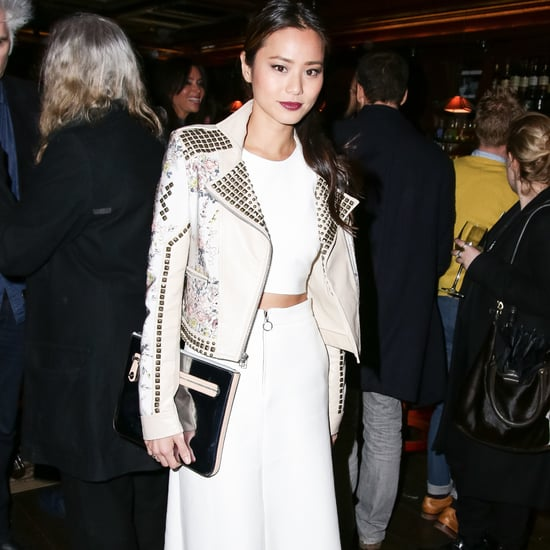 Jamie Chung White Midi Skirt and Crop Top Outfit