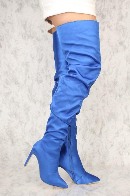 eea7429187d Alternative  AMI Royal Blue Pointy Close Toe Slouchy Thigh High Boots