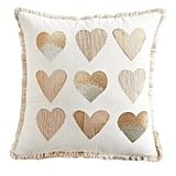 Gold and Neutral Hearts Pillow With Fringe