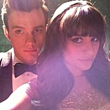 Glee stars Chris Colfer and Lea Michele got glamorous. Source: Twitter user msleamichelle