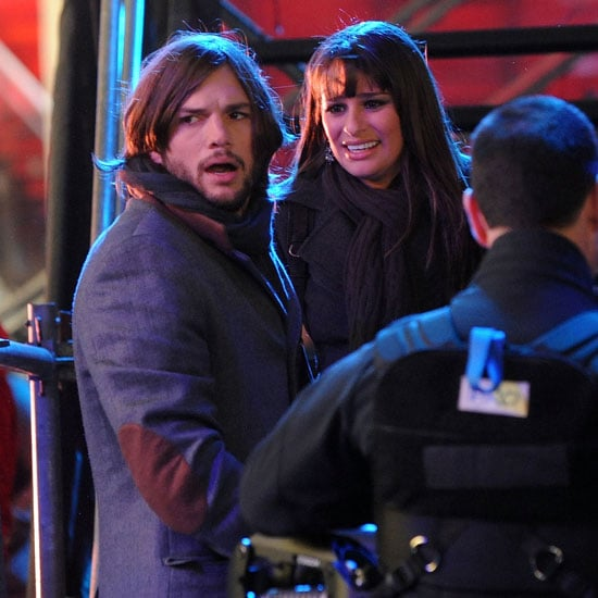 Pictures of Ashton Kutcher and Lea Michele on the Set of New Year's Eve in NYC 2011-03-16 10:31:04