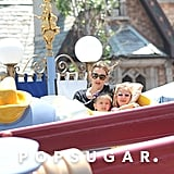 Jennifer Garner, Violet Affleck, and Seraphina Affleck rode a kids ride in Disneyland on Saturday.