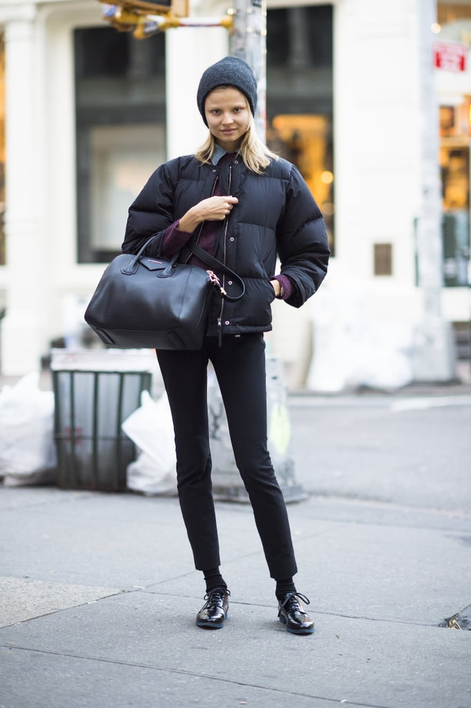Who says puffers aren't stylish? It's all about how you wear it – like polishing it up with slim black pants and a pair of patent oxfords. Source: Adam Katz Sinding