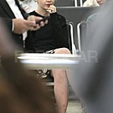 Carey Mulligan wears her engagement ring at the airport.