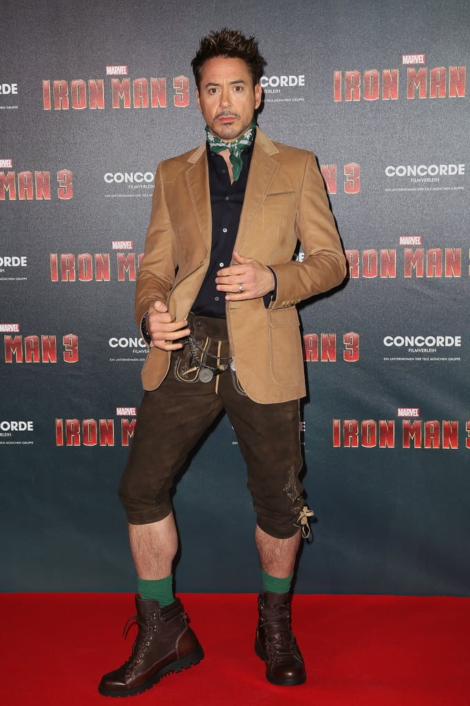 Robert Downey Jr. wore lederhosen for an Iron Man 3 stop in Munich.