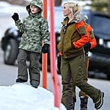 Gwen Stefani bundled up in Mammoth Mountain, CA, as Kingston Rossdale played in the snow in December 2013.