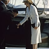 Diana wore a Kangol hat at an Italian naval base in 1985.