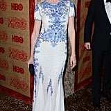 Emily Mortimer wore a white and blue number.