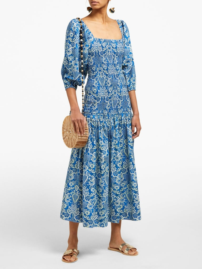 Rhode Resort Harper shirred floral-print cotton midi dress