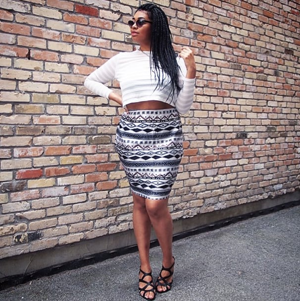 Make a crop top event-worthy with an eye-catching skirt and strappy heels.  Source: Instagram user francetajohnson