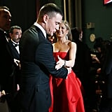 Channing Tatum and Jennifer Aniston backstage at the 2013 Oscars.