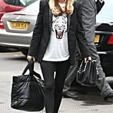 Denise Van Outen worked her red hat and tiger face tee in London.