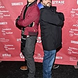 James Marsden and Jack Black goofed around on the red carpet at the premiere of The D Train.