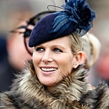 It was a splash of Jane Taylor indigo for Zara Tindall at the Cheltenham Festival in 2015.