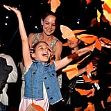 Suri got a kick out of some confetti at Nickelodeon's Kids' Choice Awards in March 2015.