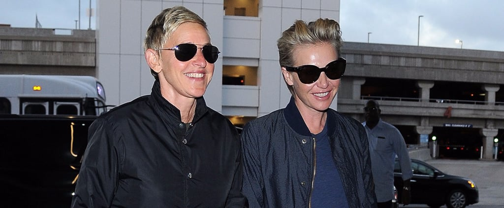 Ellen DeGeneres and Portia de Rossi Hold Hands While Catching a Flight in LA