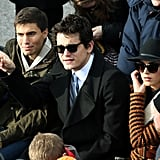 John Mayer sat next to girlfriend Katy Perry during the inauguration Monday.