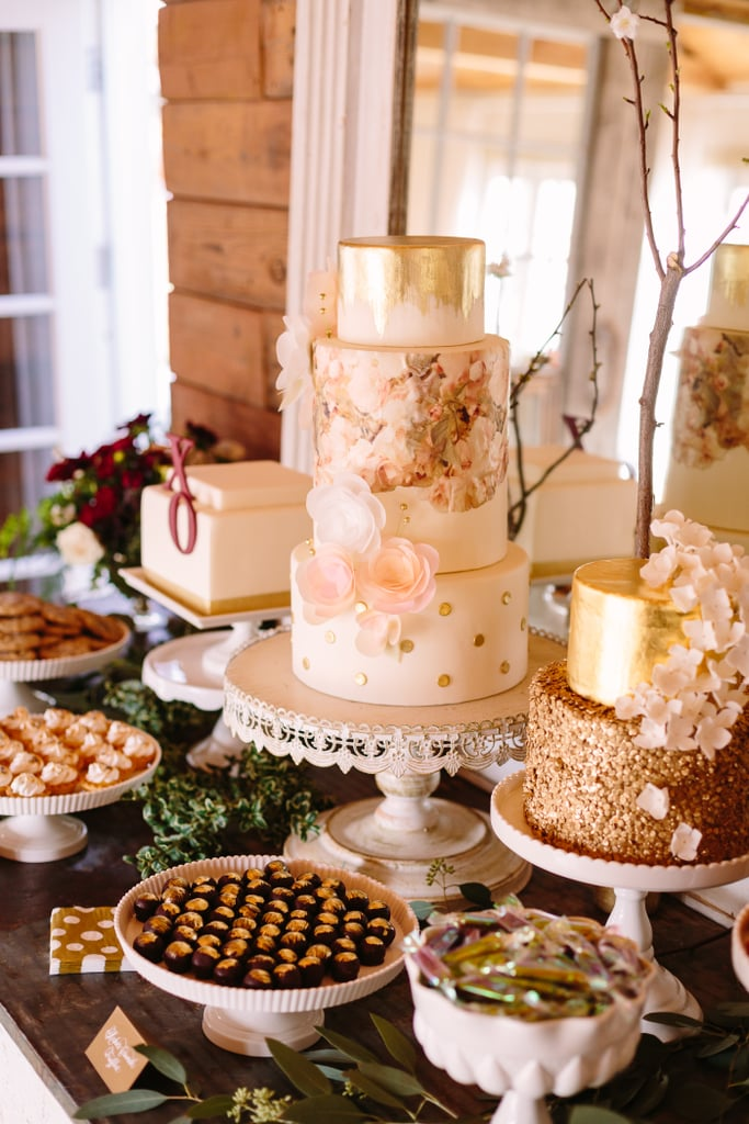 Use different cake decorating touches in your colors for an unmissable centerpiece.