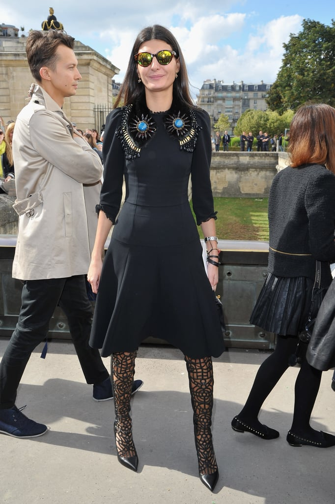Giovanna Battaglia's lattice-detailed leather boots are insanely cool.