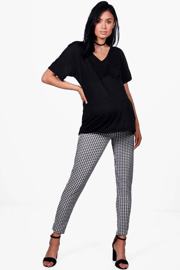 84b4182e3982d Boohoo Maternity Lily Gingham Trousers With Stretch   Cute Maternity ...