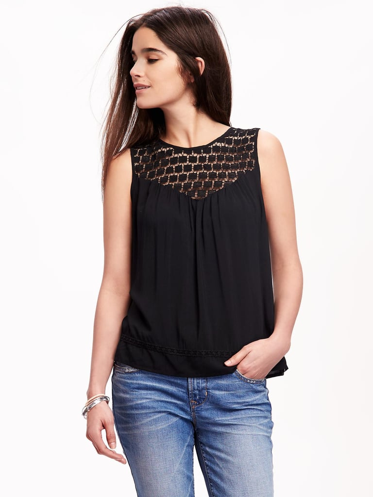 """The Tank: Old Navy Lace-Yoke Swing Tank ($30) The Glowing Review: """"Great Summer top! This top goes with everything and the material is perfect for Summer weather. Dressy with a skirt or dress pants, casual with shorts."""""""