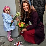 The duchess couldn't stop laughing during her meeting with 2-year-old Lola Mackay at a British hospital in October 2012. When she got down to accept the little girl's bouquet of flowers, Lola decided she would rather keep them for herself.