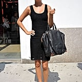 An all-black knit was offset with a pair of eye-catching Preen x Aldo shoes.