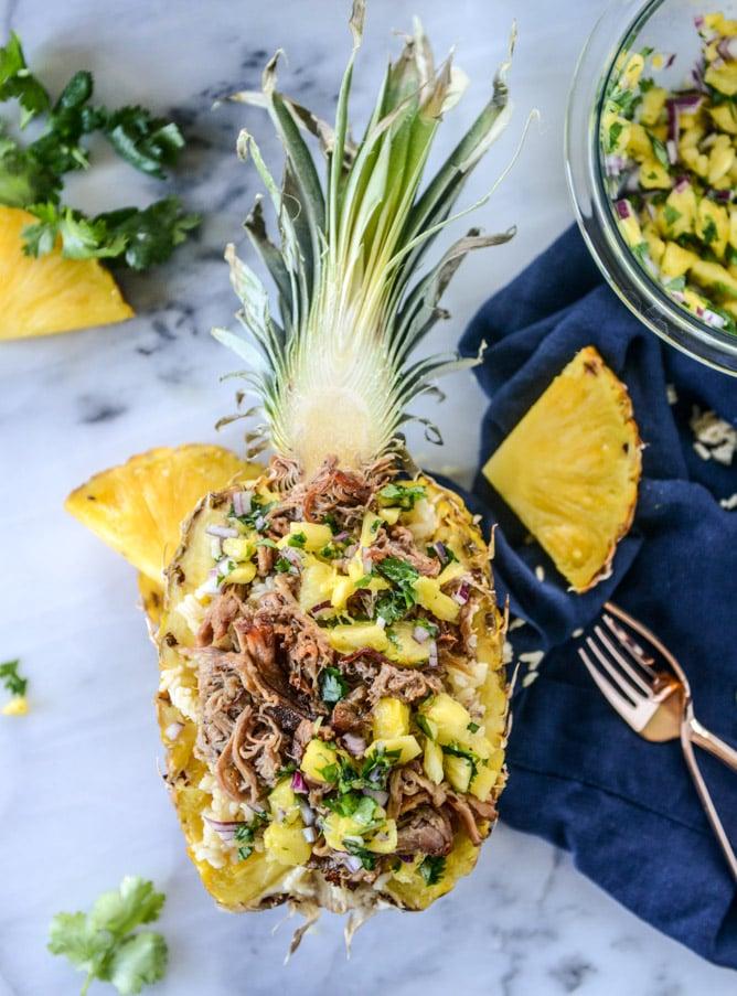 Slow-Cooker Jerk Pork in Pineapple Rice Bowls
