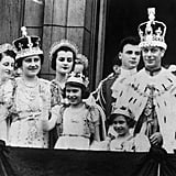 At her father King George VI's coronation in 1937.