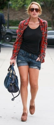 Lindsay Lohan Carries a Blue Chloe Bag