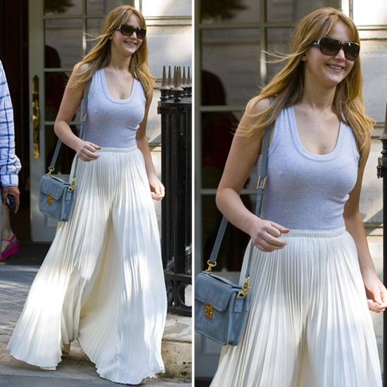 Jennifer Lawrence Wearing a Pleated Maxi Skirt | POPSUGAR Fashion