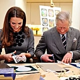 On one engagement the royal pair enjoyed some cutting and pasting — is this now a little insight into what happens when Prince George gets a visit from grandpa?