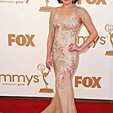 Best supporting actress in a drama nominee and Mad Men star Elisabeth Moss posed on the red carpet.