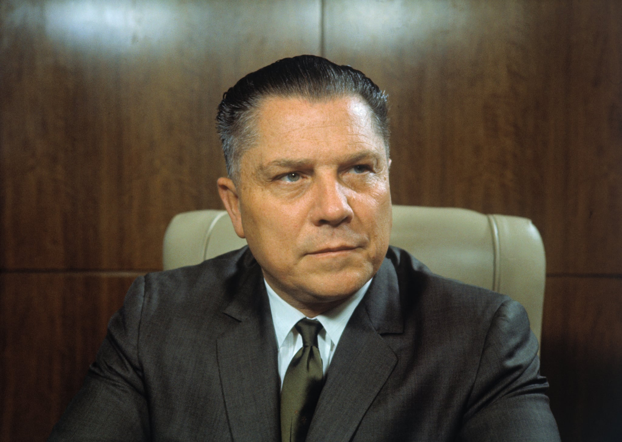 4/1966- New York, NY: Closeups of James Hoffa, president of the teamsters union.