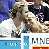 Chris Hemsworth and Elsa Pataky cuddled during the Olympics.