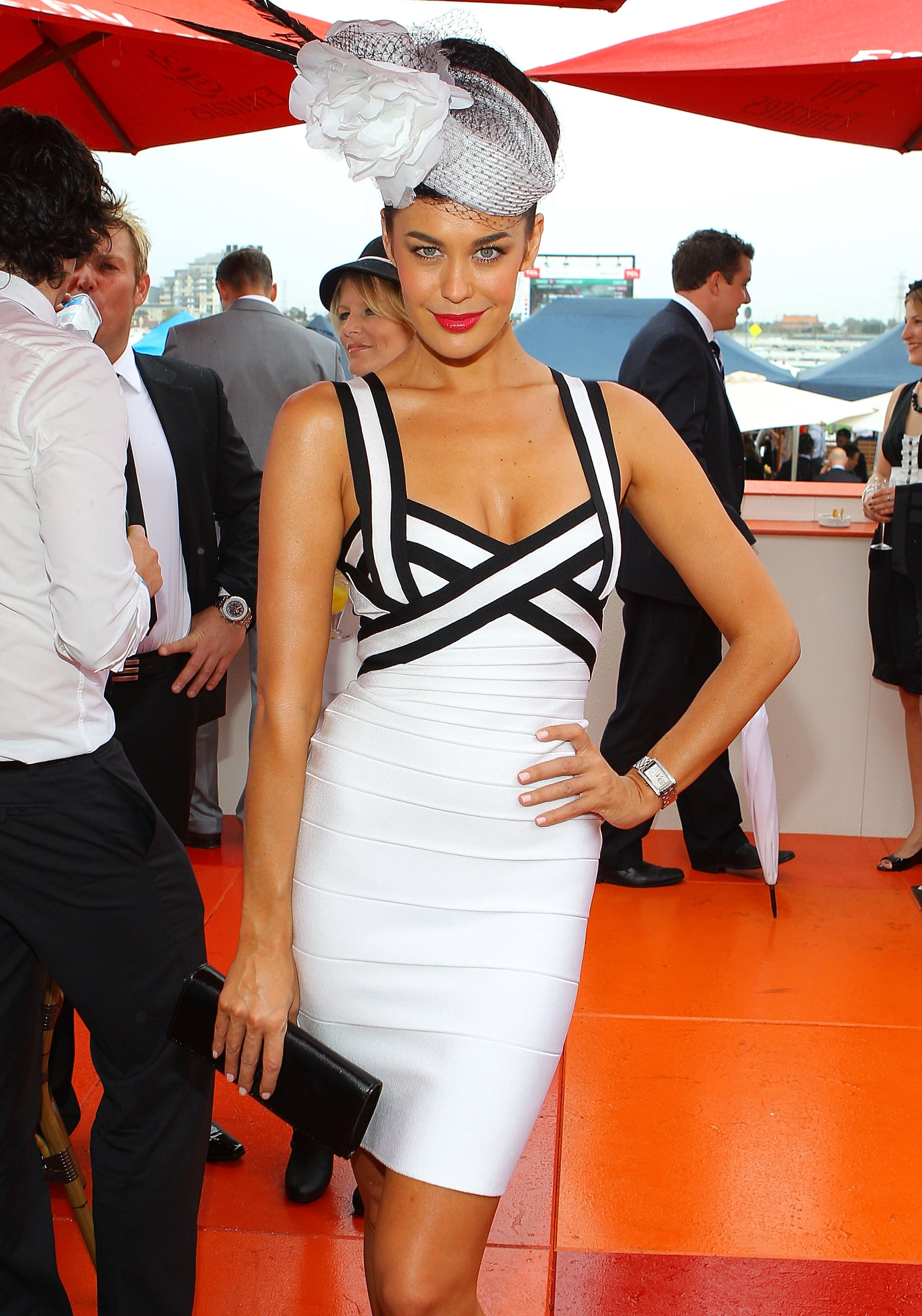 Megan Gale pulls out all the stops in body-con Herve Leger