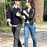 Olivia Wilde and Jason Sudeikis gave each other a glance.