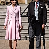 May: Kate was pretty in pink as she attended the Royal Garden Party.