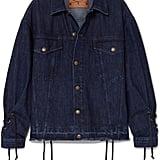 McQ Alexander McQueen Oversized lace-up distressed denim jacket