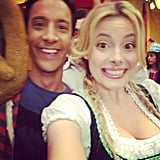 Community's Gillian Jacobs posted this older shot of her and costar Danny Pudi on set for the episode that aired this week.  Source: Instagram user gillianjacobs