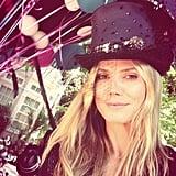 Heidi Klum celebrated her birthday with a top hat and balloons. Source: Twitter user heidiklum