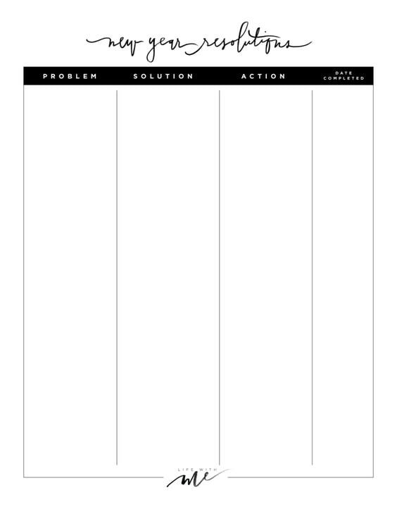 Printable Resolutions Sheet
