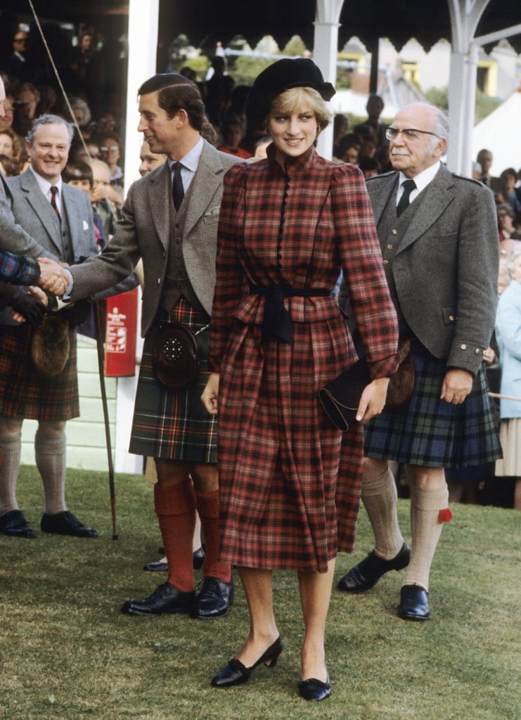 The red and lilac tartan outfit that Diana wore to the 1982 Braemar Games was designed by Caroline Charles.