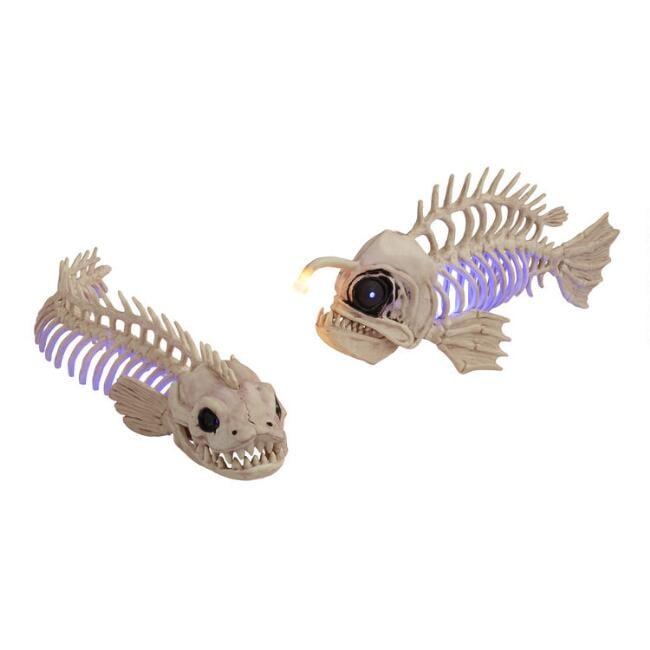 Fish and Eel Skeleton LED Light Up Decor Set of Two